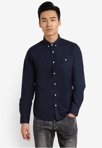 CR7 blue and navy Relaxed Fit Spec 4 Classic Rigid Casual Shirt CR532AA61EGGMY_1