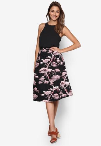 削肩印花及膝洋裝, 服飾, esprit童裝門市洋裝