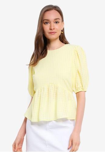Miss Selfridge yellow Lemon Seersucker Blouse 268A1AAB13F2CEGS_1