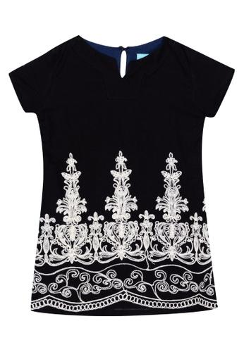 TWILO black Vienna Black Dress With White Embroidery AC109KAD9259EAGS_1