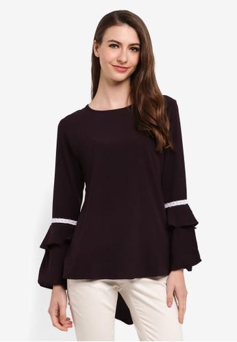 Aqeela Muslimah Wear black Qhalisha Layered Sleeve Top FA8DAAA5818DE0GS_1