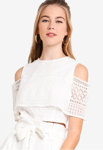 Something Borrowed white Cold Shoulder Lace Crop Top 81CEBAA9902473GS_1