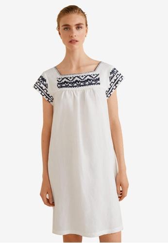 Mango white Embroidery Linen Dress C5FFFAAF56A71EGS_1