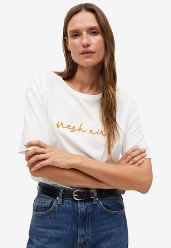 Mango white Short-Sleeves Message T-Shirt BF667AAFE6416EGS_1