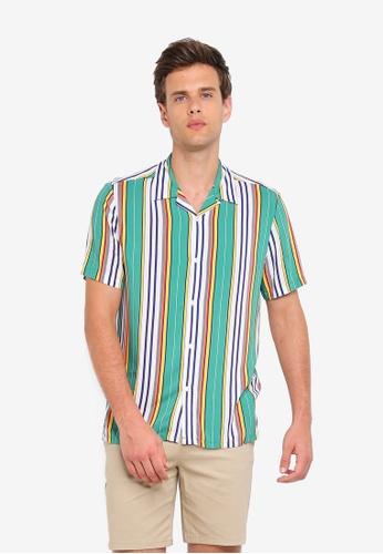 d45a2e82 Buy Topman Green Afro Stripe Revere Shirt Online on ZALORA Singapore