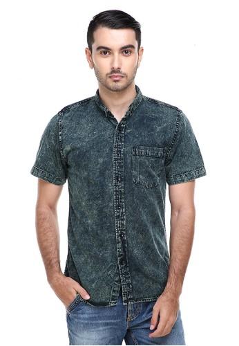 Hamlin green Hamlin Dwan Shirts Kemeja Jeans Sandwash Kasual Model Slim Fit Material Denim ORIGINAL 5C22BAAFF47A32GS_1