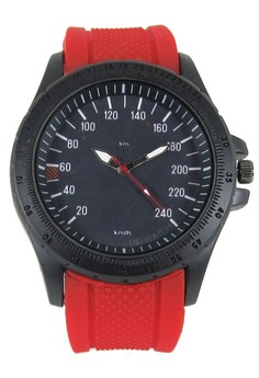 Pic Watch Speedometer Design Men's Silicon Watch (red)