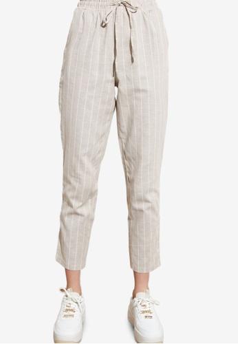 Trendyol grey Drawstring Striped Trousers 275ACAA5D3E2F7GS_1