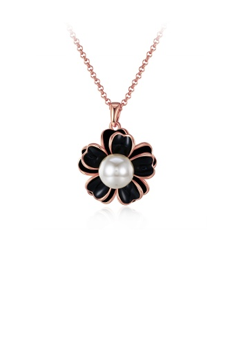 Glamorousky white Elegant Plated Rose Gold Flower Pendant with Pearl and Necklace 784BBAC9667A8FGS_1