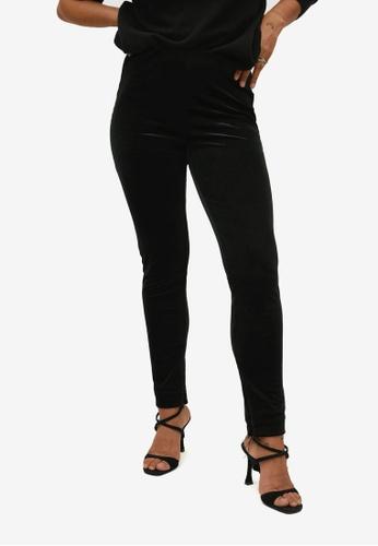Violeta by MANGO black Velvet Leggings BE745AA1C89E5DGS_1