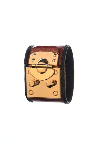 CSHEON red and gold TREASURE CHEST HAYDES RED GLITTER LEATHER BRACELET CUFF 8015BAC7957C65GS_1