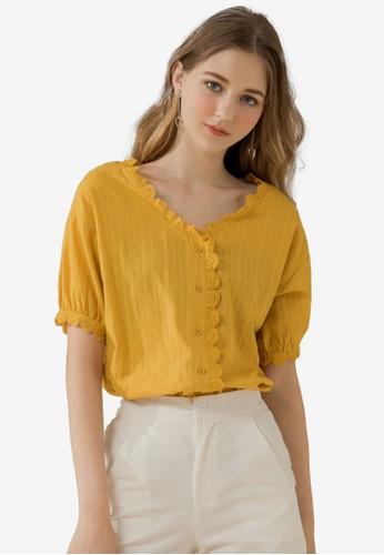 Eyescream yellow Crochet Hem Blouse 95D8EAA673973FGS_1