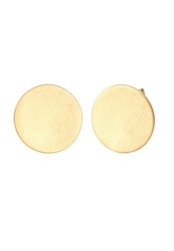 Elli Germany gold Perhiasan Wanita Perak Asli - Silver Anting Stud Round Matt Lapis Emas 3914EACF0784CCGS_1
