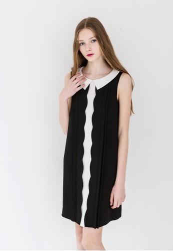 撞色小方領扇貝滾邊連身裙、 服飾、 洋裝debb撞色小方領扇貝滾邊連身裙最新折價
