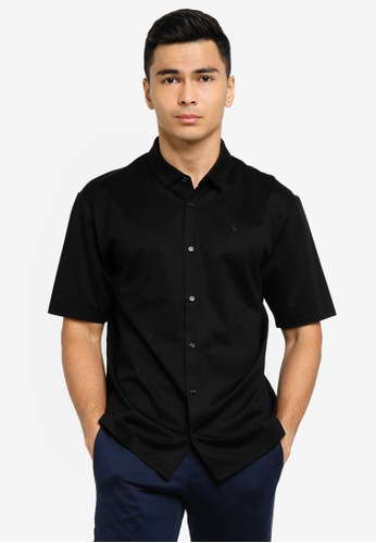 ck Calvin Klein black SILK BLEND MERCERISED BUTTON-UP TOP WITH LOGO 42331AAF64C8D3GS_1