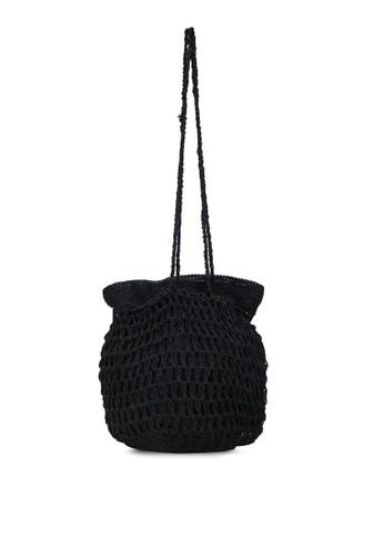 Rubi black Macrame Knit Bucket Bag 57D5BAC15E2EECGS_1