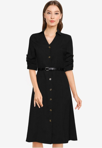 ZALORA WORK black Midi Shirt Dress With Belt 82E28AA5743586GS_1