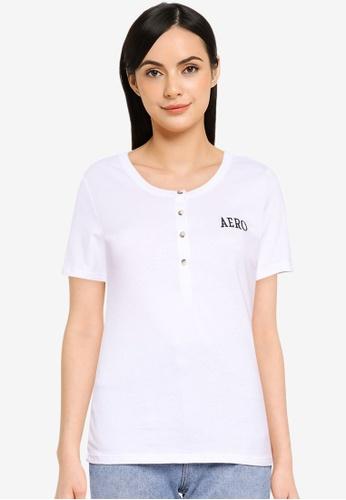 Aeropostale white Short Sleeve Henley T-Shirt E8AC7AA7F3BC78GS_1