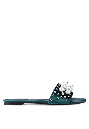 Nose green Velvet Pearl Ornament Sandals 635F2SHAE29764GS_1