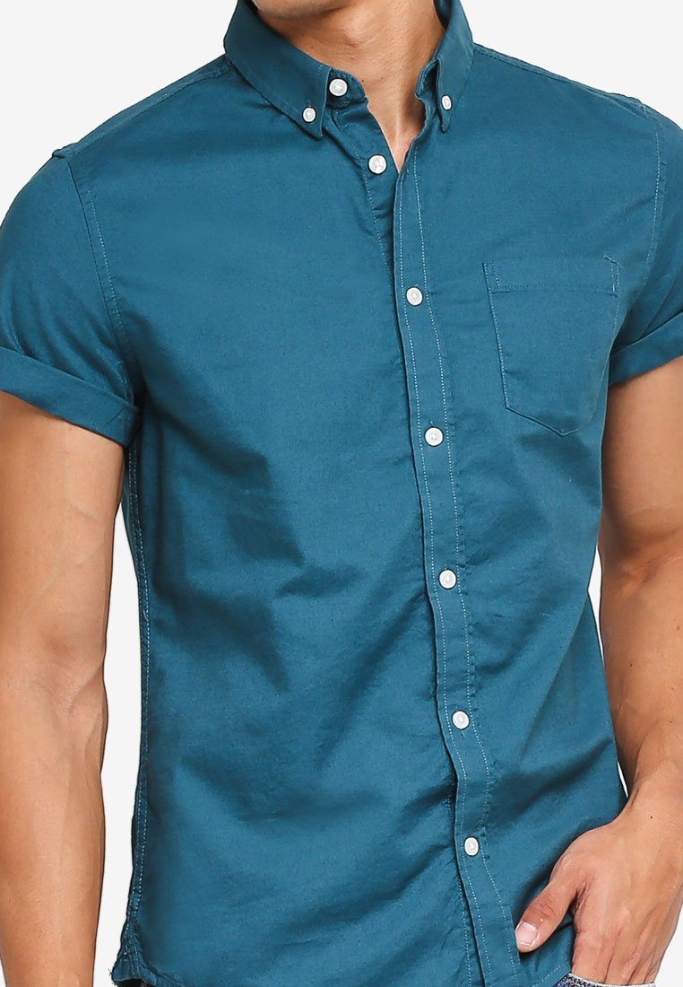 Burton Sleeve Shirt Short Oxford Teal Green Menswear London Dark qRTdUwIxd
