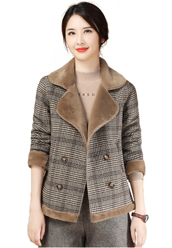 A-IN GIRLS brown Checkered Plus Woolen Coat C6F23AA444F79EGS_1