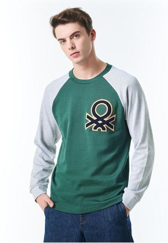 United Colors of Benetton grey Long Raglan Sleeve Sweatshirt 9130DAA65FEB8AGS_1