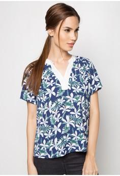 Vanille Short Sleeves Printed Top
