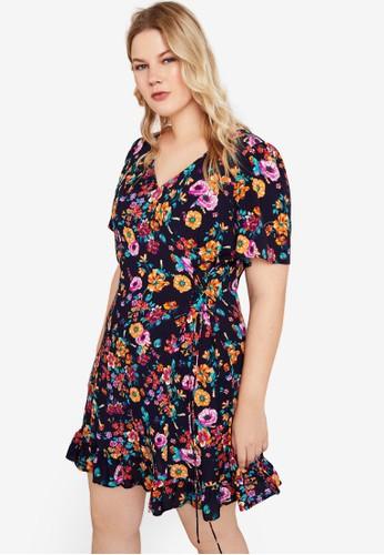 Violeta by MANGO blue Plus Size Cord Floral Dress CDB56AA15C73E9GS_1
