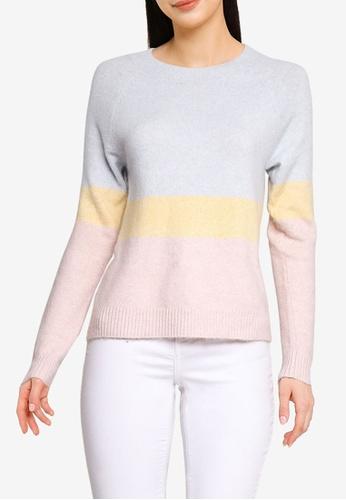 Vero Moda blue Doffy Long Sleeves Colour Block Sweater 3B04CAA19906ACGS_1
