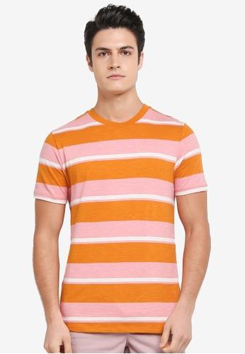 Topman orange Slub Stripe T-Shirt 50629AAFA38BC6GS_1