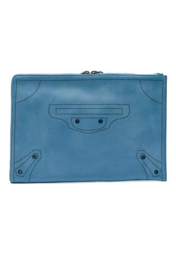 Balenciaga blue Balenciaga Blackout Half Zip Around Pouch (Bleu Canard) 3F71CAC36932A1GS_1
