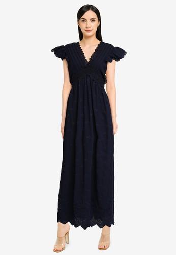 Vero Moda navy Ariana V-neck Maxi Dress EC5CAAAF88E25FGS_1