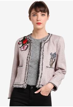 【ZALORA】 刺繡花卉圖案斜紋女性外套