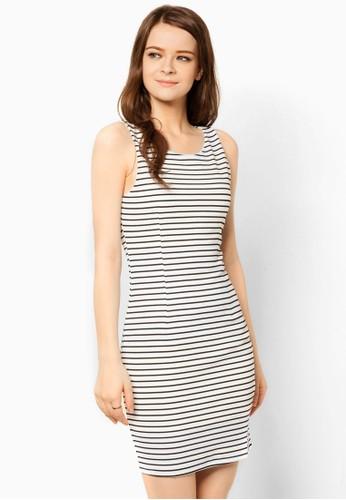 彈性萊卡條紋連身zalora 內衣裙, 服飾, 洋裝