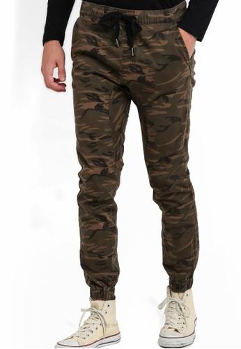 Cotton On 褐色 迷彩彈性束腰長褲 CO372AA01JZUMY_1