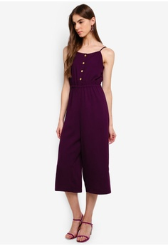 3be218ca6a ZALORA purple Button Detail Cami Jumpsuit 9B234AA77DD652GS_1