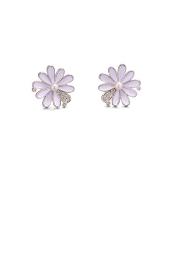 Glamorousky white 925 Sterling Silver Fashion and Elegant Daisy Freshwater Pearl Stud Earrings with Cubic Zirconia BB343ACF75C0AAGS_1