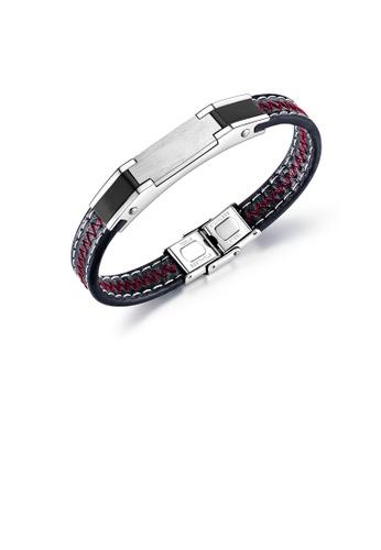 Glamorousky silver Simple Fashion Geometric Rectangular 316L Stainless Steel Black Leather Bracelet FC5A4AC8B4F05DGS_1