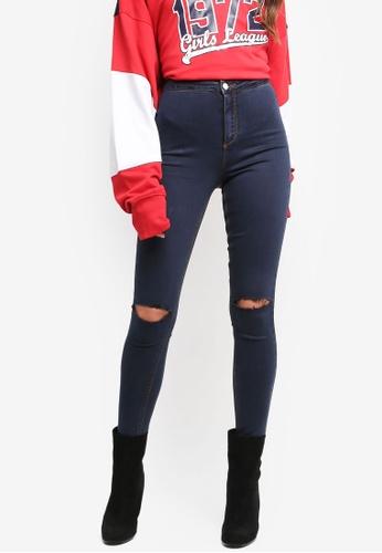 MISSGUIDED blue Vice Slash Knee Skinny Jeans BAC42AA8FDE902GS_1
