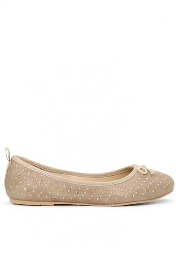 London Rag gold Golden Ballerina Flats with Gold Studs 72AC9SH7A91E63GS_1
