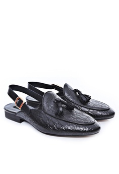 1cccd390c Zeve Shoes Zeve Shoes Mules Slingback Strap - Black Croco Leather With  Tassel RM 399.00. Available in several sizes