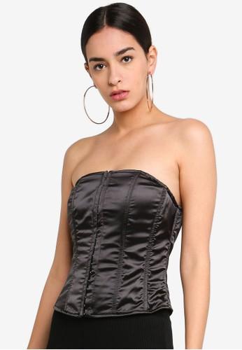 MISSGUIDED black Strapless Boned Corset E8CADAAB395D93GS_1