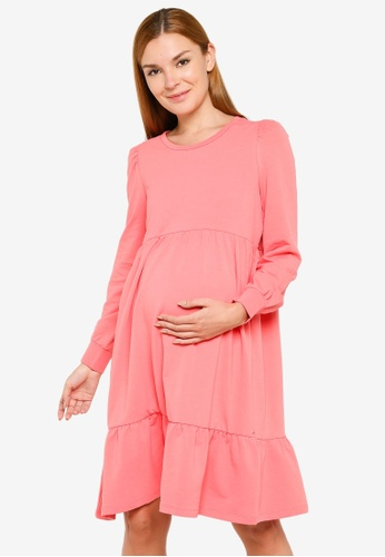 Mama.licious pink Maternity Carly Jersey Dress 699CBAAE74F8A0GS_1