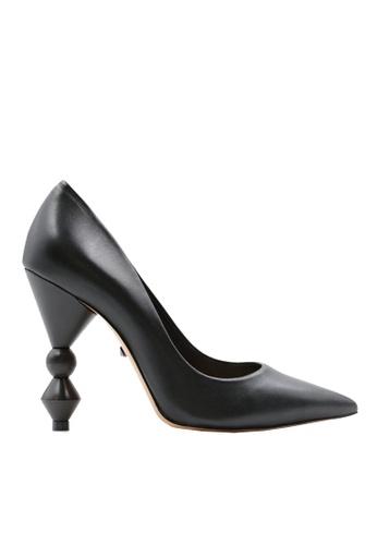 SCHUTZ black Black Leather Wood Heel Pumps - S/PLINIA [BLACK] C33E9SH5B4775BGS_1