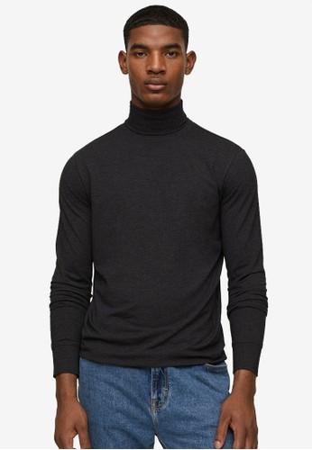 MANGO Man grey Turtleneck Long-Sleeved T-Shirt 00B8DAAF665D45GS_1