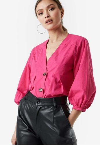 NA-KD 粉紅色 公主袖鈕釦上衣 88318AA36E967CGS_1
