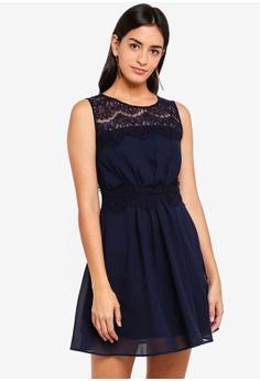 ZALORA navy Bridesmaid Lace Insert Dress B41FFAAEE99188GS 1 faa22e41b