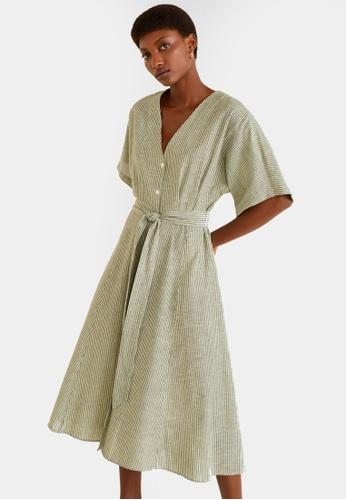 9c699ac7cc Mango green Bow Linen-Blend Dress FD501AABF90229GS 1