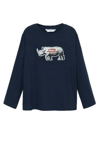MANGO KIDS blue Patch Cotton T-Shirt 88E2EKA80ECB9BGS_1