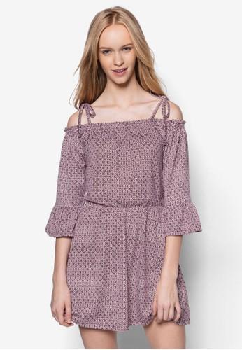 top shop代購露肩荷葉袖印花洋裝, 服飾, 服飾